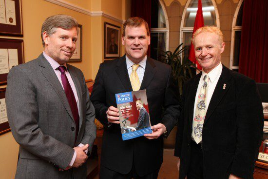 IP managing editor James Anderson, Foreign Minister John Baird and MLI managing director Brian Lee Crowley (L to R).