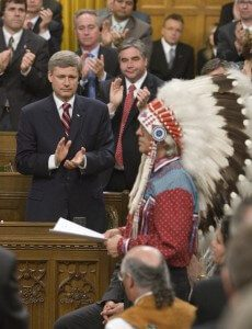 Prime Minister Stephen Harper and Assembly of First Nations Chief Phil Fontaine in the House of Commons during the government's residential schools apology in June 2008 (Photo by Jason Ransom, courtesy the Prime Minister's Office).